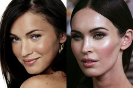 Меган Фокс до и после ринопластики